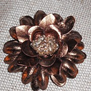 SALE Bronze Leather Flower Pin