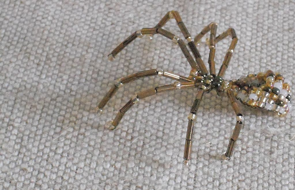 Bronze Legged Beaded Spider Pin