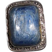 SALE Angelique de Paris Ring size 6- Iolite/White Topaz/ Sterling/Resin
