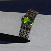SOLD Marcasite / Sterling Faux Peridot Ring size 6.75