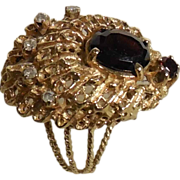 SALE Yellow Gold Vintage Rubellite Tourmaline and Diamond Pear Shaped Filigree Ring