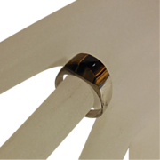 Sterling Ring with Tiger's Eye Cabochon - size 7.75