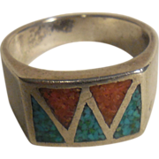 Sterling Silver Ring with Turquoise and Coral Mosaic – Unisex Ring – 9.75