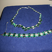Faux Emerald and Crystal Rhinestone Demi-Parure  by Bogoff.