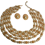 Trifari Necklace Five Strand Faux Pearl and Textured Gold Plated Beads with Clip Earrings