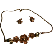 REDUCED Krementz Rose and Yellow Gold Filled Wild Roses Necklace and Screw Back Earrings
