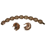 Bracelet and Clip Earrings Gold Plated with Colored Rhinestones – Signed Jomaz