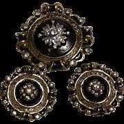 Vintage Vermeil Pin Brooch and Clip Earrings Set by R De Rosa