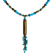 REDUCED Recycled bullet shell casing with Turquoise Magnesite Pendant