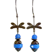 REDUCED Dragonfly Czech Glass Earrings