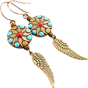 REDUCED Turquoise And Coral Enamel Disc Earrings With Wing Dangle