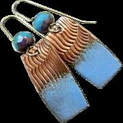 SOLD Copper Enamel Earrings