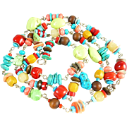 Southwestern Multi-Colored Long Necklace
