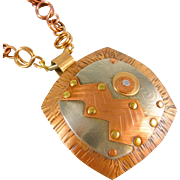 Mixed Metal Pendant Necklace With Handmade Chain