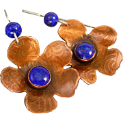Copper And Lapis Flower Earrings