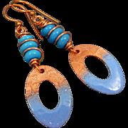 Blue Textured Copper Enamel Earrings