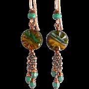 Blue Czech Glass Dangle Earrings