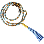 Bullet Shell Necklace With Blue Suede Tassel