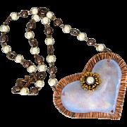 Blue Enamel Copper Heart Pendant Necklace