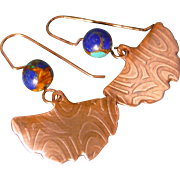 Copper And Lapis Ginko Leaf Earrings