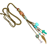 Patina Bullet Shell Charm Dangle Necklace