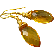 Citrine Quartz Faceted Marquis 18K Gold Vermeil Earrings