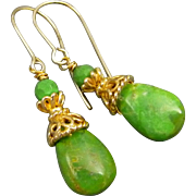 Mohave Green Turquoise and Gold Vermeil Earrings
