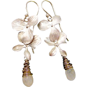 Brushed Silver Orchid Moonstone Earrings