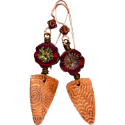 Red Czech Glass And Copper Earrings