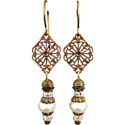 Bohemian Antiqued Brass And Copper Pearl Earrings