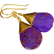 Purple Turquoise Earrings With 14K Gold Overlay