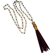 Freshwater Pearl Necklace With A Bullet Shell Casing And Suede Tassel