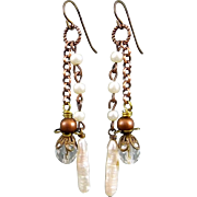 Stick Pearl And Crystal Dangle Earrings