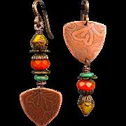 Asymmetrical Etched Copper Czech Glass Earrings