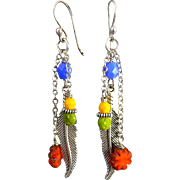 Colorful Silver Feather Czech Glass Earrings