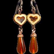 Amber Teardrop Heart Czech Glass Earrings