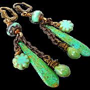 Boho Patina Brass Czech Glass Earrings
