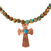Turquoise And Copper Necklace With Copper Stamped Cross Pendant