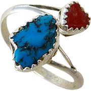 Turquoise And Red Coral Nugget Adjustable Sterling Silver Ring