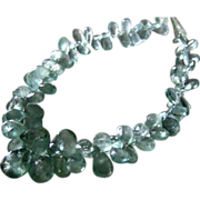 SALE 225ct Moss Aquamarine-Beryl Briolette-18k Solid Gold Necklace-March Birthstone