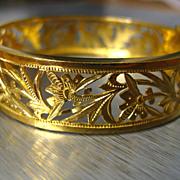 SALE 22k High Karat Gold Ornate Chinese Bangle Bracelet with Safety Clasp