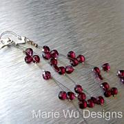 SALE Rhodolite Garnet Waterfall-Illusion-Long-Sterling Silver Cascading Earrings