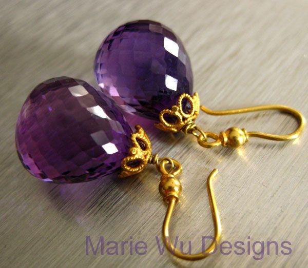 IF Clarity Purple Amethyst-18k Solid Gold Dangle Earrings