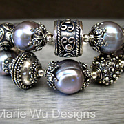 SOLD 2 Strand-13mm Platinum Fresh Water Pearls-Handmade Balinese Silver Bracelet-With Charms