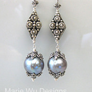 12mm Platinum Hue FW Pearls-Handmade Bali Silver Dangle Earrings