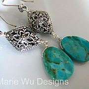 SALE Natural Turquoise-Balinese Silver Dangle Earrings