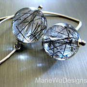 14mm Tourmalated Quartz Orbs-Sterling Silver Contemporary Earrings