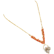SOLD Huge-26mm Baroque Fresh Water Pearl Pendant-Salmon Coral-Gold Fill Pendant Necklace
