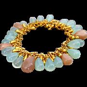 SALE Aqua Chalcedony-Peach Moonstone-Briolette Charm-Gold Plated Bracelet
