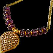 SALE 1.5ct Rose Cut Diamonds-Rubellite Garnet-Solid 22k-18k OOAK-Pendant Necklace